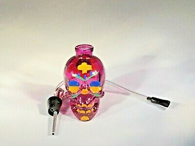 Glass Painted Skull Water Bong Hookah Shape Bubbler Smoking Pipes US Seller 4