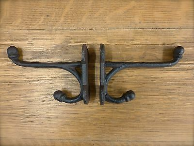 2 BROWN ANTIQUE-STYLE CAST IRON SM HARNESS HOOKS rustic wall barn coat hat plant 2