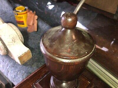 "circa 1920 pine newel post finial urn style 13"" h x 5"" dia x 11.25"" sq base 3"