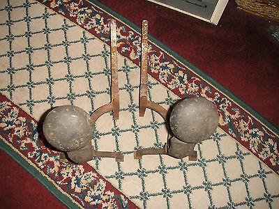 Antique Peerless Andirons-Cast Iron-3521-Resembles Rooster Running-Pair-LQQK 9