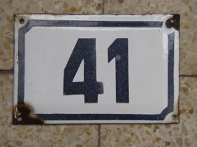 vintage   ISRAELI  enamel porcelain number 41  house sign # 41 CHRISTMAS SALE ! 2