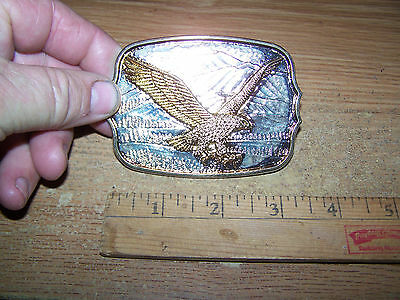 Brass Belt Buckle Bald Eagle Gold Tone Color New Old Stock