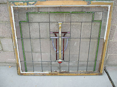 ~ Antique American Stained Glass Window ~ 44 X 36 ~ Architectural Salvage ~ 7