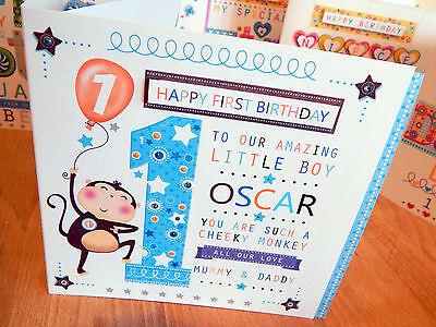 Baby Boy First Birthday Card Personalised 1st Birthday Boy Monkey