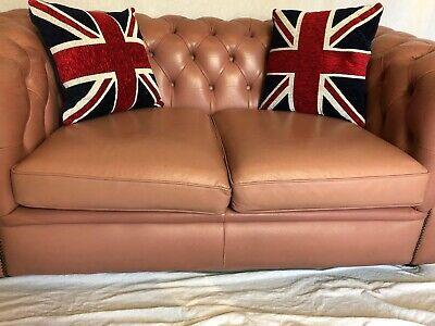 1 Luxury Handmade Vintage Leather Chesterfield Sofa 2 Seater Settee Salmon Pink 2