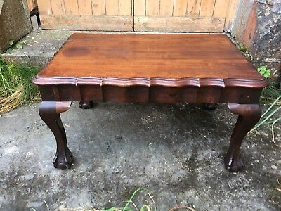 Antique Victorian Carved Gothic Revival Mahogany Coffee Table Side Occasional 10