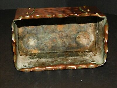 Small Arts & Crafts Hammered & Riveted Copper Trough With Brass Ring Handles 5