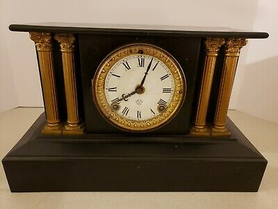 Antique Working 19th C. ANSONIA Victorian Black Iron Pillar Column Mantel Clock 9