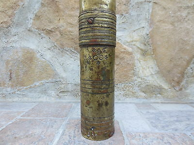 Primitive Antique Ottoman Brass-Carved TUGRA Marked Hand Coffee Grinder 19th #04 2