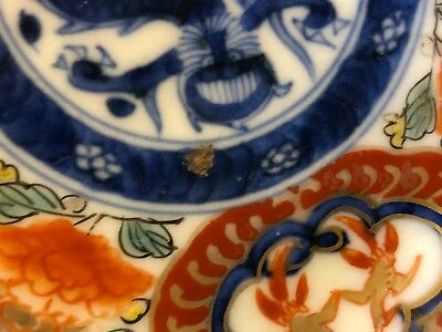 Vintage Possibly Antique Set of 2 Porcelain Japanese Imari Saucers w/ Dragon Dec