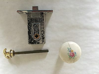 Vintage Chrome Mortise Door set w Porcelain Knob & Brass Handle from late 1930's 3