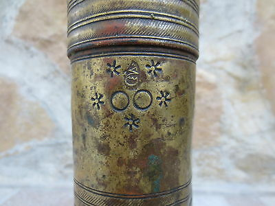 Primitive Antique Ottoman Brass-Carved TUGRA Marked Hand Coffee Grinder 19th #04 3