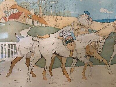 Francés Antiguo Art Nouveau Enmarcado Firmado Hombre Caballo a Caza / Play Polo 3