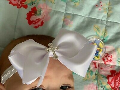 Baby Girl White Christening Headband Baptism Wedding Bow Cross Hairband Velvet 2