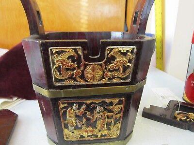 Antique Chinese Wedding Basket Hidden Wood Lock w/Gold Carved Figures Brass Band 10