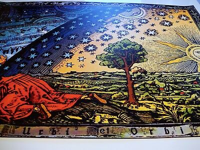 FLAMMARION ENGRAVING 1888: Psychedelic Flat Earth Poster Print of Firmament Dome 7