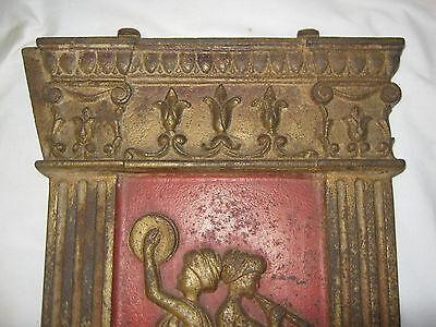 Antique Cast Iron Art Nouveau Nude Lady Bust Movie Theater Plaque Garden Panel 4