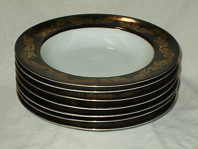 "Set Of 7 Narumi China Occupied Japan ""Golden Night"" Coupe Soup Bowls 2"