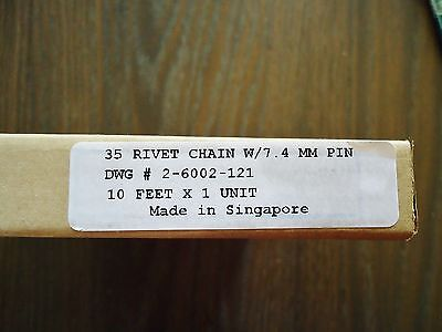 "New Teleflex Morse 35 Rivet Chain W/7.4 Mm Pin Dwg# 2-6002-12 10"" X 1 Unit 3"