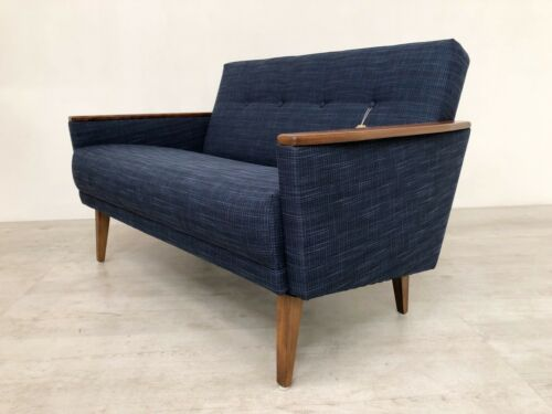 Danish Vintage Inspired Mid Century 50S 2 Seater Cocktail Sofa Settee In Navy 7