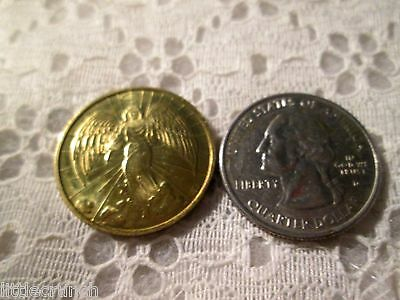 Vintage Religious  Gold Angel Coin  Double Sided Metal Very Nice 3