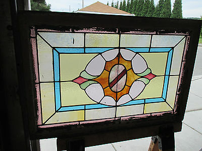 ANTIQUE AMERICAN STAINED GLASS WINDOW 36 x 24 ~ ARCHITECTURAL SALVAGE~ 2