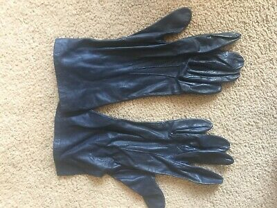 Vintage Fownes navy blue leather gloves 3