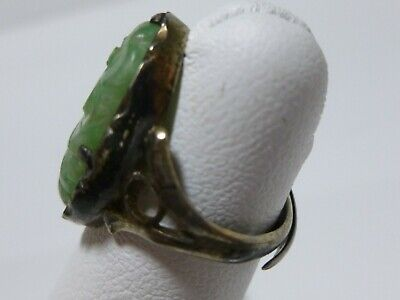 Chinese Export Sterling Silver Carved Jade Jadeite Flower Antique Signed Ring 4
