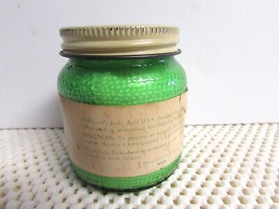 VINTAGE APOTHECARY MEDICAL McKESSON BORIC ACID GREEN BOTTLE w/ORIG. PAPER LABEL 3