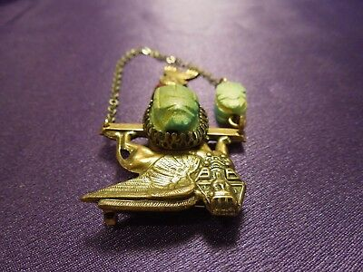 Egyptian Revival Scarab Sphinx W/ Chain Vintage Brooch Pin 3