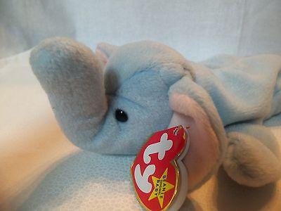 TY Beanie Babies Baby Blue Elephant ** PEANUT ** 4th Generation New w/ Tag