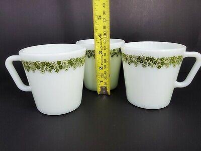 Vintage Retro 3 Pyrex Green Flowers No 1410 Mugs Coffee Cups 300 ml 10.14 oz. 10