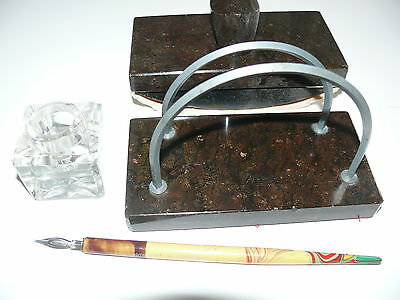 Rariät  ca. 100 alte Marmor Schreibtisch Ganitur  4 Teilig 2