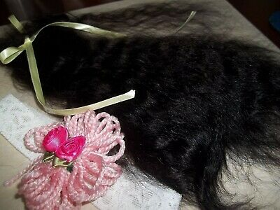 """**SOFT BLACK""""~VERY CURLY 10-12in. FOR REBORN~SILKY~1/2 OZ~YEARLING ANGORA MOHAIR 3"""