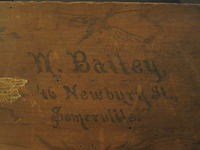 Antique Victorian American Folk Art Painted Trunk Bailey Somerville Ma Boston 6
