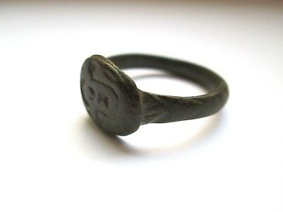 Ancient bronze ring medieval Roman with ornament