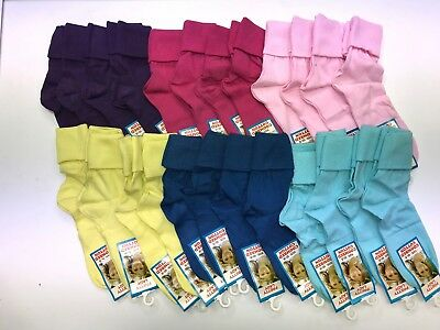 4 x Girls Plain Colour  short slouch socks  soft Cotton ,pink purple blue yellow 3