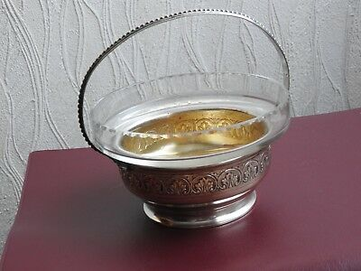 Ancien Sucrier Confiturier En Metal Argente Cristal Centre De Table Cobalt Sugar 7