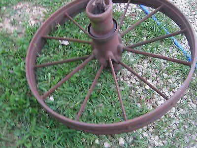 """Vintage Rustic Iron Farm Implement Wheel 32"""" diameter x 4"""" wide Farm decor 2"""