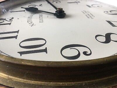 1930s Art Deco Oak Industrial Large Office Wall Clock, Working 11