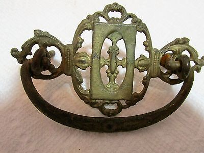 Antique Fancy Brass Finish Drawer Pulls, Pair 3