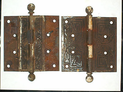 Antique Victorian Eastlake Hinges Late 1800's  Extra Large 2