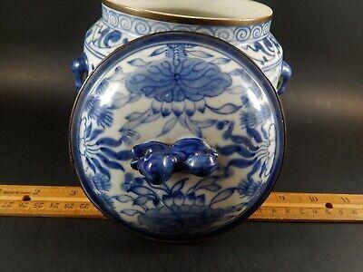 Chinese Blue White Porcelain Covered Jar Metal Clad Rim Shishi Finial Ex Skinner 5