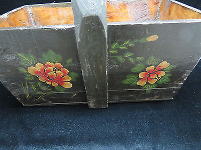 Vintage Large Chinese Hand Painted Knitting/Sewing/Mag Basket 10