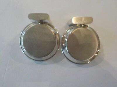 Pair Vintage Sterling Silver Individual Ashtrays with Match Holder 7