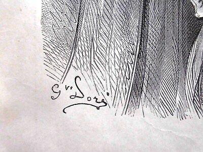 G.Dore1889/2 Blatt Holzschnitte zu LES MEDICINS:Fabeln de la Fontain.Drucksign. 5