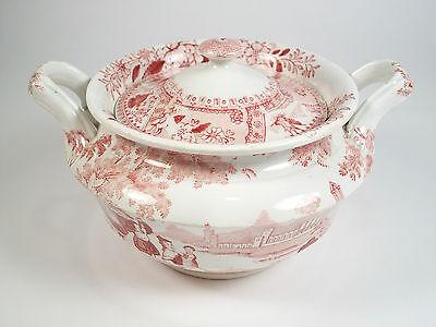 DAWSON'S - PHILAMMON - Red Transferware Sugar Bowl with Lid - UK - 19th Century