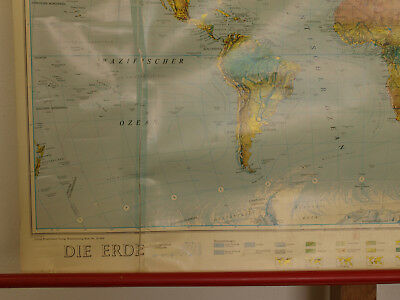 Wandkarte schöne alte Weltkarte world wall card map 120x81cm Orbit vintage 1980 5