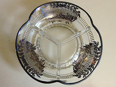 Vintage STERLING SILVER Art Deco Overlay Cut Glass 3 Section CANDY Bowl Dish 2