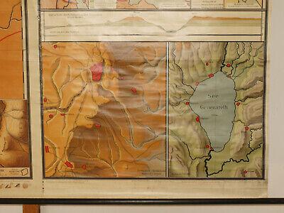Alte Schulwandkarte Wandkarte Palästina Biblische Länder 202x149cm vintage~1925 9